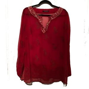 Tops - Betty BARCLAY sheer red top w/ sequins-like New